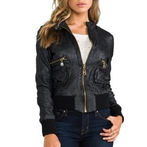 DOMA Black Leather Bomber Jacket